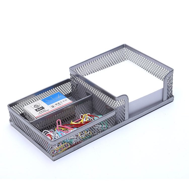 Custom Memo Pad Holder Paper Clips Collection Desk Metal Mesh Organizer
