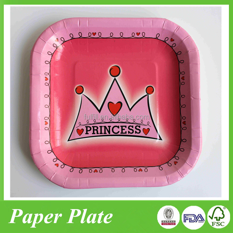 9inch square shape white carbode paper plate for kids