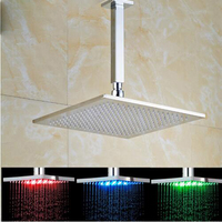 Ceiling Mounted Bathroom Brass Chrome Square 10 Inch Led light Rain Top Shower Head