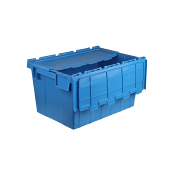 Storage Moving Stackable Plastic Tote Box With Hinged Lids