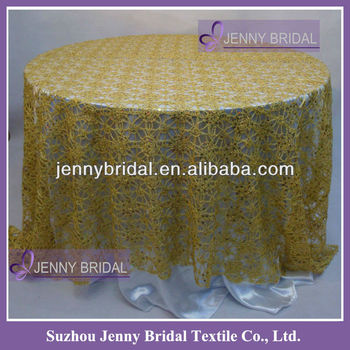 TC082A Gold Chemical Lace Embroidery Sequin Table Overlay