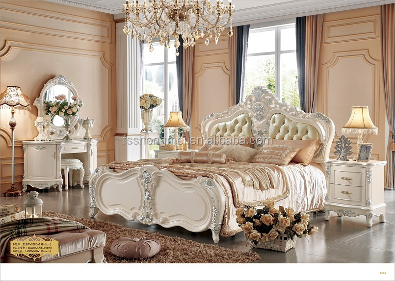 White Color Customised Luxury King Bedroom Sets Bed Wardrobe Dresser Stool