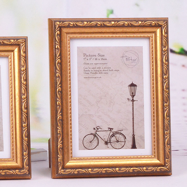 A4 size Antique Gold Wooden Picture Frames 4x6 5x7 Wholesale