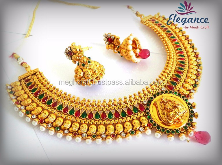 South Indian Temple Jewellery Set Indian Wedding Wear Necklace Set