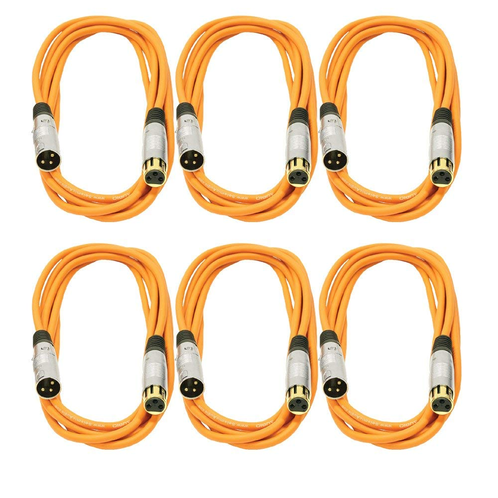 Seismic Audio SAPGX-10Orange-6 Pack Premium 10' Orange Gold Plated XLR Microphone Patch Cables, 6 Pack