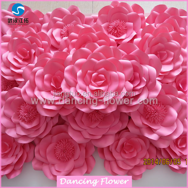 Diy Craft Fascinating Flower Wall Onnaments Pink Paper Flower Heads