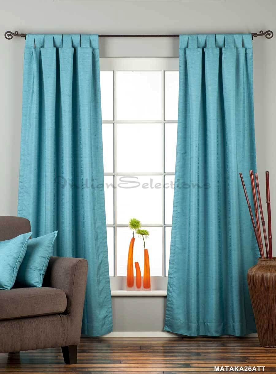 Turquoise Tab Top Matka Raw Silk Curtain / Drape - 43W x 63L - Piece