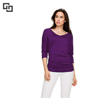 Women's V Neck Long Sleeve T Shirt Pleated Tunic Top