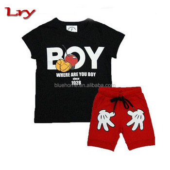2 PCS Toddler Boy Kids Outfits T-shirt+Shorts Clothes Set 2-7Y fashion boy's clothing