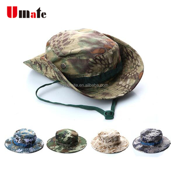 New arrival 11 colors Camo Military boonie hat custom bucket hat with string  embroidery 6150a1fb653