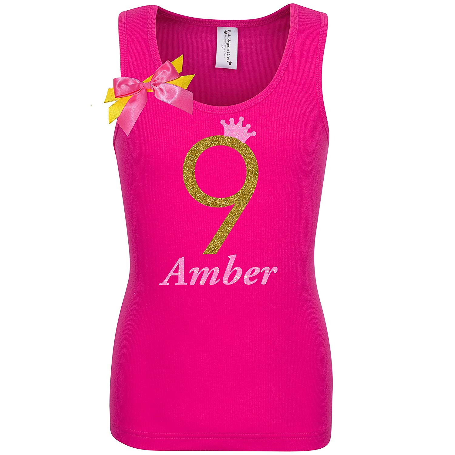 Get Quotations 9th Birthday Shirt Gold Glitter Nine T Tank Top Custom Name Age 9 Tween