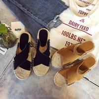 Wholesale Nature Jute Slipper Hemp Rope Womens Summer Slippers Flat