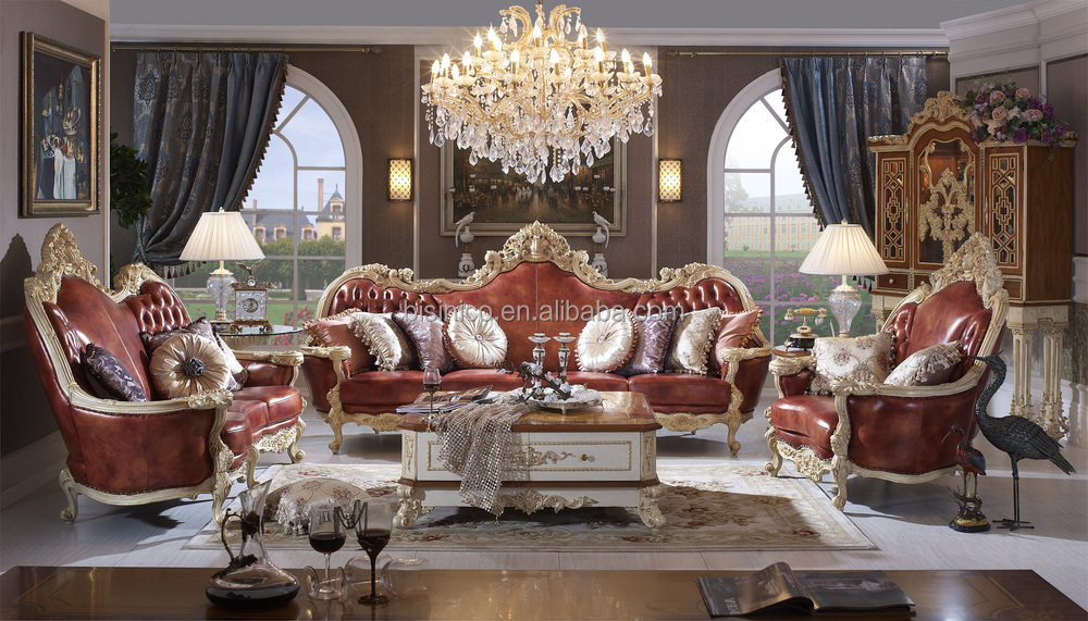 Luxury solid wood red leather sofa royal living room leather sofa buy germany living room - Add luxurious look home royal sofa living room ...