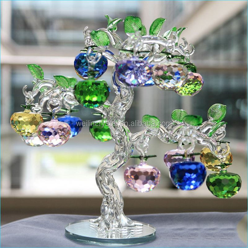 Love Theme high-end 3d laser block cheap apple tree crystal wedding gifts