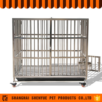 Large stainless steel acrylic modular dog cage with wheels for Large dog cages for sale cheap