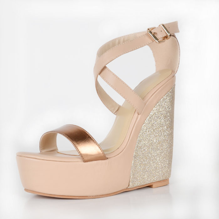 Nude Sandal For Women Criss Cross Strap Sequin Wedges Summer Shoes Fashion Faux Leather Custom Made Size Shoe 2015 Platform Shoe