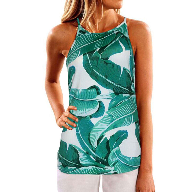 WLLW Women Crew Neck Sleeveless Floral Print Shirt Tops Tee Tanks Camis
