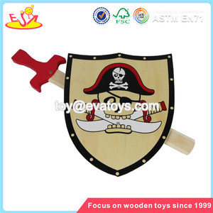 Wholesale new product wooden shield and sword toy popular kids wooden shield and sword toy W01B006
