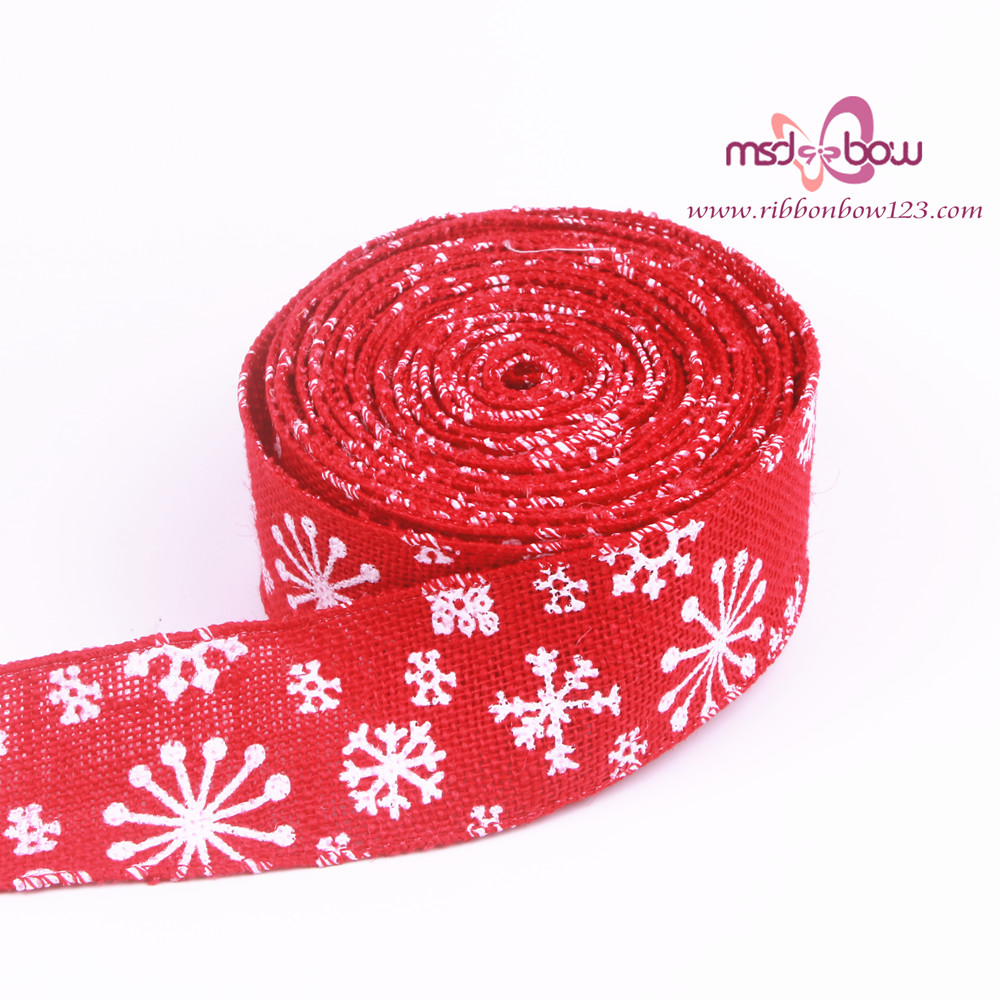 wholesale red jute burlap christmas ribbon