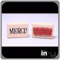 Custom logo wooden ink stamp kit Wood rubber stamp