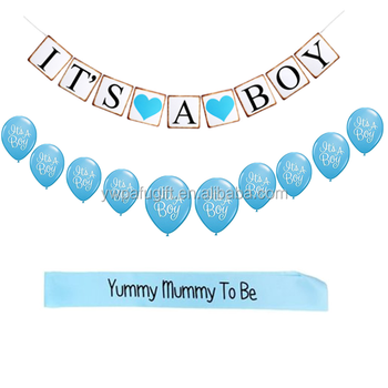 Baby Shower Its A Boy Banner And Balloons Kit Baby Shower Party