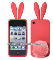 Cute Korea style 3D Rabbit Ear Silicone Mobile Phone case for iphone 4 4S