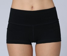 Breathable and durable nylon and spandex four way stretch plain black sport shorts
