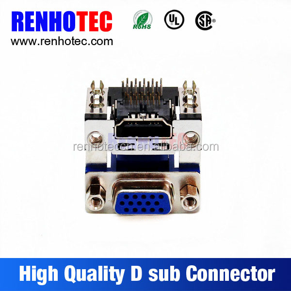 90 Degree PCB Mount D sub Female Connectors to HDMI connector