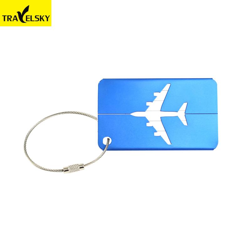 Travelsky Reizen Metalen Aluminium Vliegtuig Bagagelabel Met Vervangbare Papier Visitekaartje
