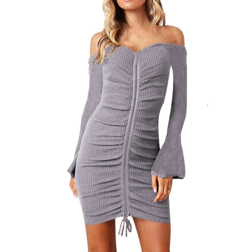 b9db5e9e4b09 Get Quotations · Womens Dress Long Bell Sleeve Mini Dress Off Shoulder Dress  Evening Party Mini Pencil Dress