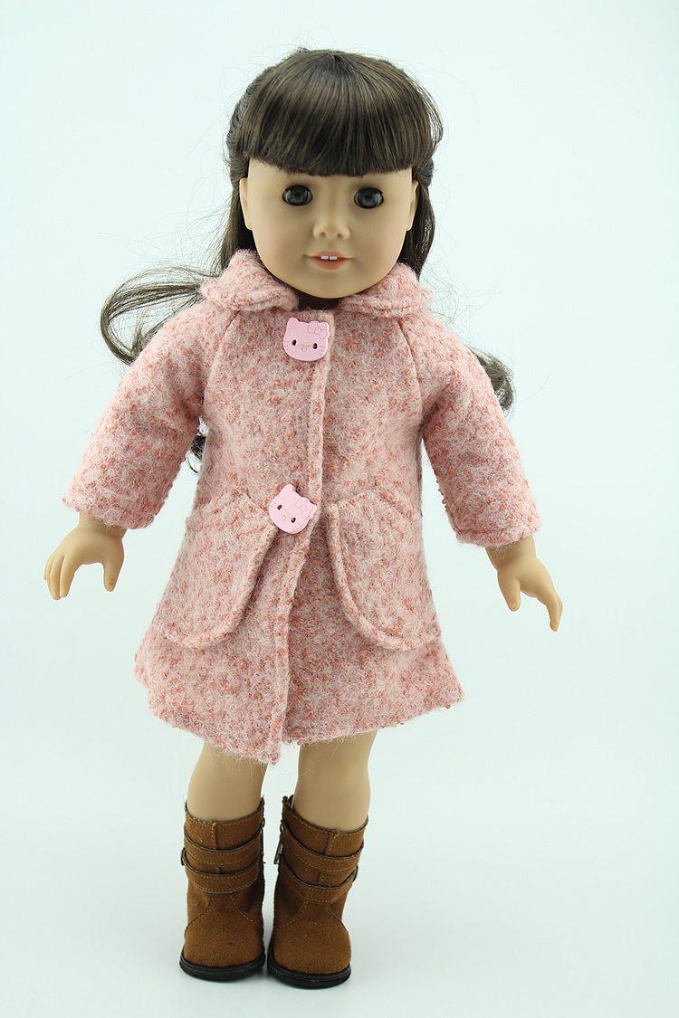Beautiful Pink Wool Coat Clothes Fits 18 Inch American Girl Dolls Special Dolls Accessories