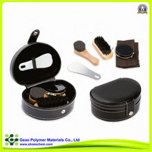 5 accessaries black leather case shoe polish kit, travel shoe polish kit