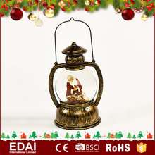 Antique style battery powered copper plastic snow globe lantern with xmas scene inside