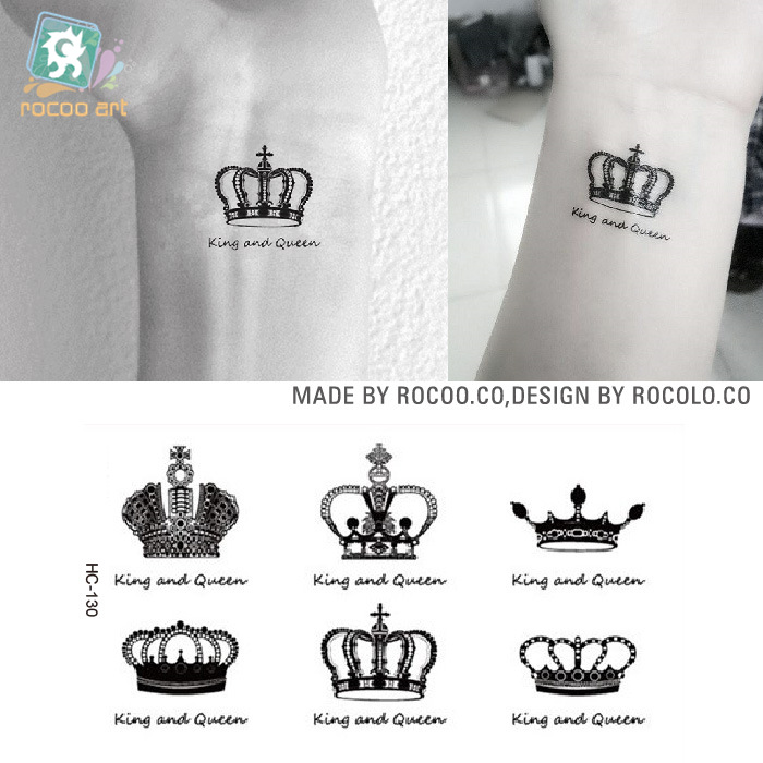 New Creative Design Crown Pattern Temporary Tattoos Arm And Wrist Women Men Style Disposable Waterproof Flash