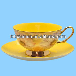 Custom printed bone china gold rim tea cup and saucer wholesale