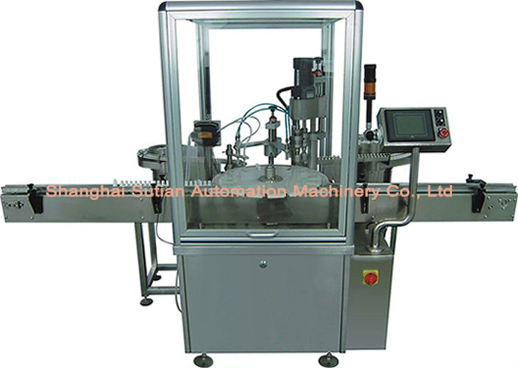 MT-1000 automatic 10ml bottle cigarette fluid filler plugging-in capping labeling machine shanghai manufacturer