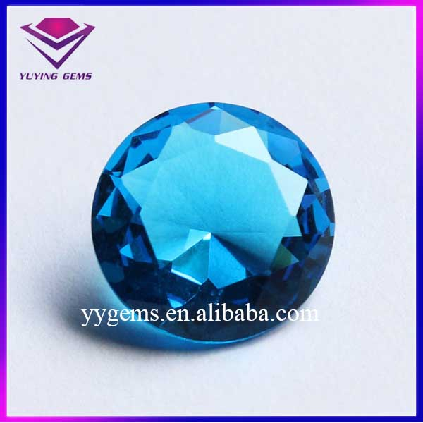 20MM Sea Blue Round Diamond Cut Bulk Sale Cheap Glass Gemstones