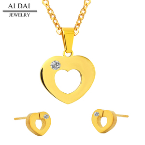 Wholesale hot Gold plated heart necklace and earrings sets Stainless steel jewelry Set joyas acero