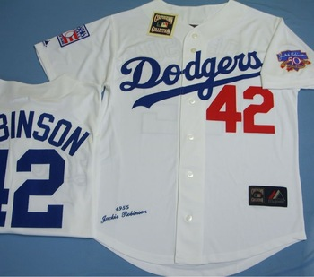 new concept 64a90 747af La Dodgers #42 Jackie Robinson,Men's Sewn White Cooperstown Jersey - Buy  Majestic Jerseys Product on Alibaba.com