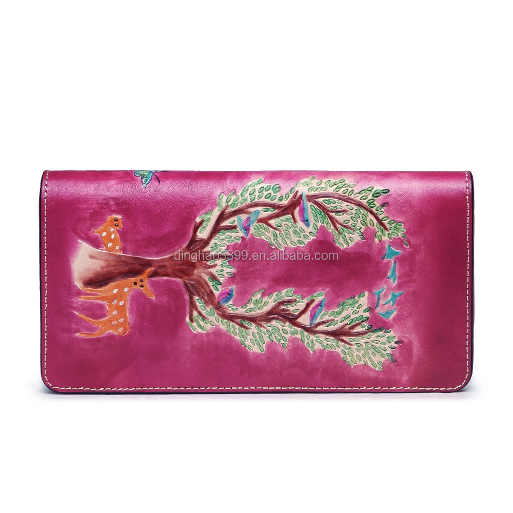Fashion trendy pretty women rose red leather zipper clutch wallets with card slots