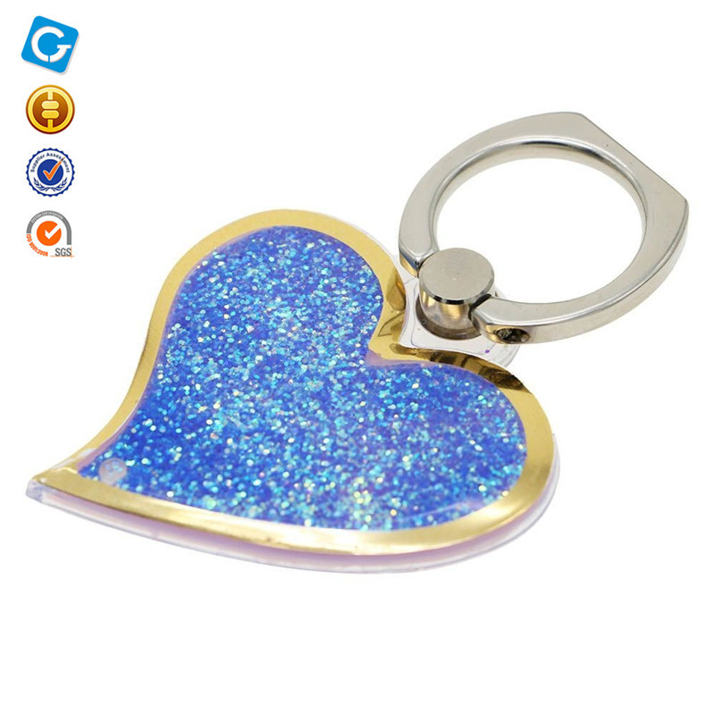 Mobile Phone Dynamic 3D Moving Bling Flowing Liquid Floating stand Bling Glitter Sparkle Quicksand holder with Ring Finger