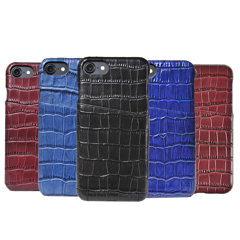 Crocodile Embossed  Leather Phone Case With Card Holders