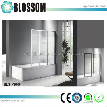 China Factory Bi Fold Tempered Glass Shower Bathtub Screen Folding Bathtub  Shower Door