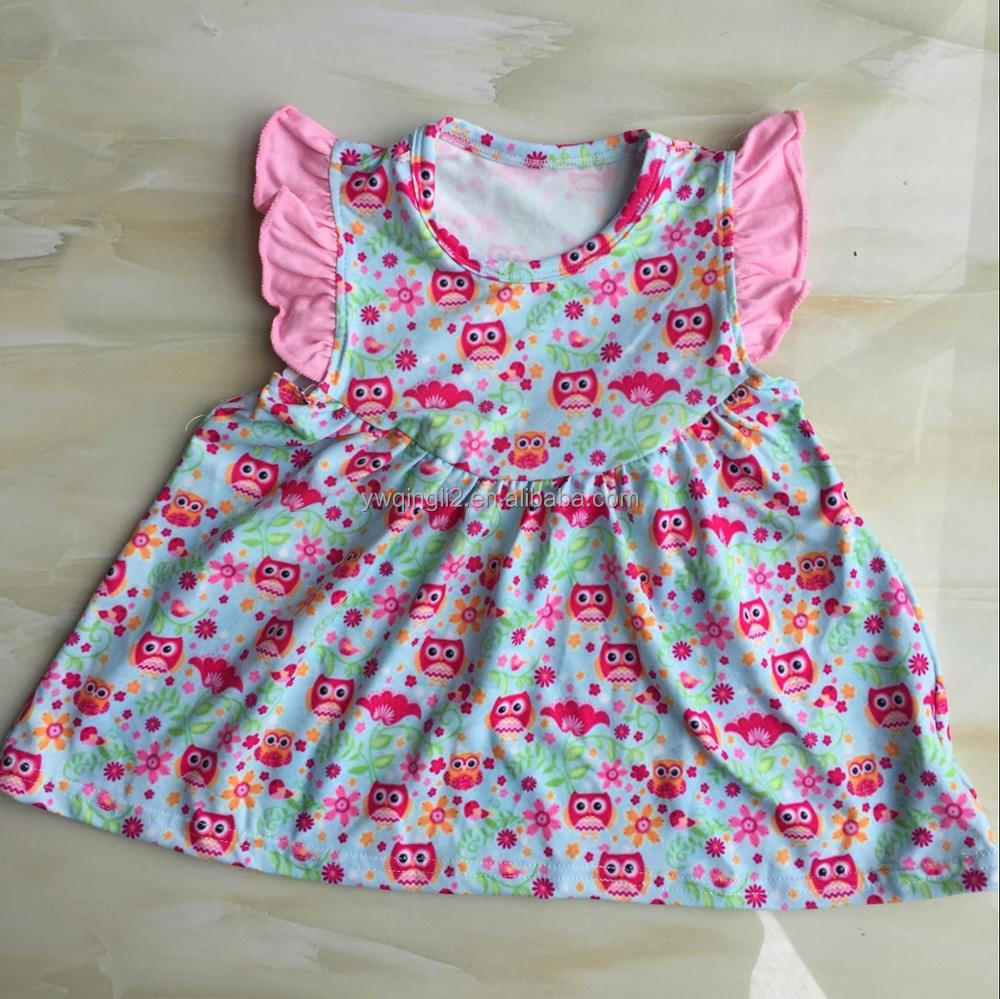 XF-656 Wholesale milk silk toddlet dress children tunic for girls summer boutique owl printed frock designs