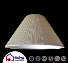 cloth covered plastic cone pleated tc fabric lamp shade with trim for hotel