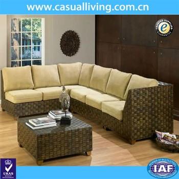 Outdoor Furniture Sofa Set Luxury Sunroom Indoor Rattan Sectional Living