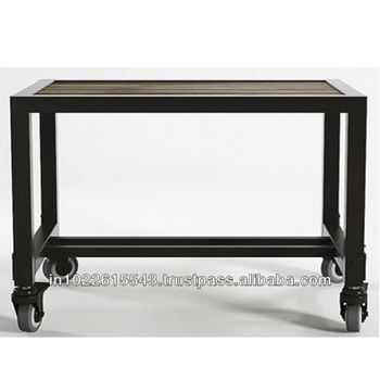 INDUSTRIAL Side Table With Wheels, Industrial Furniture
