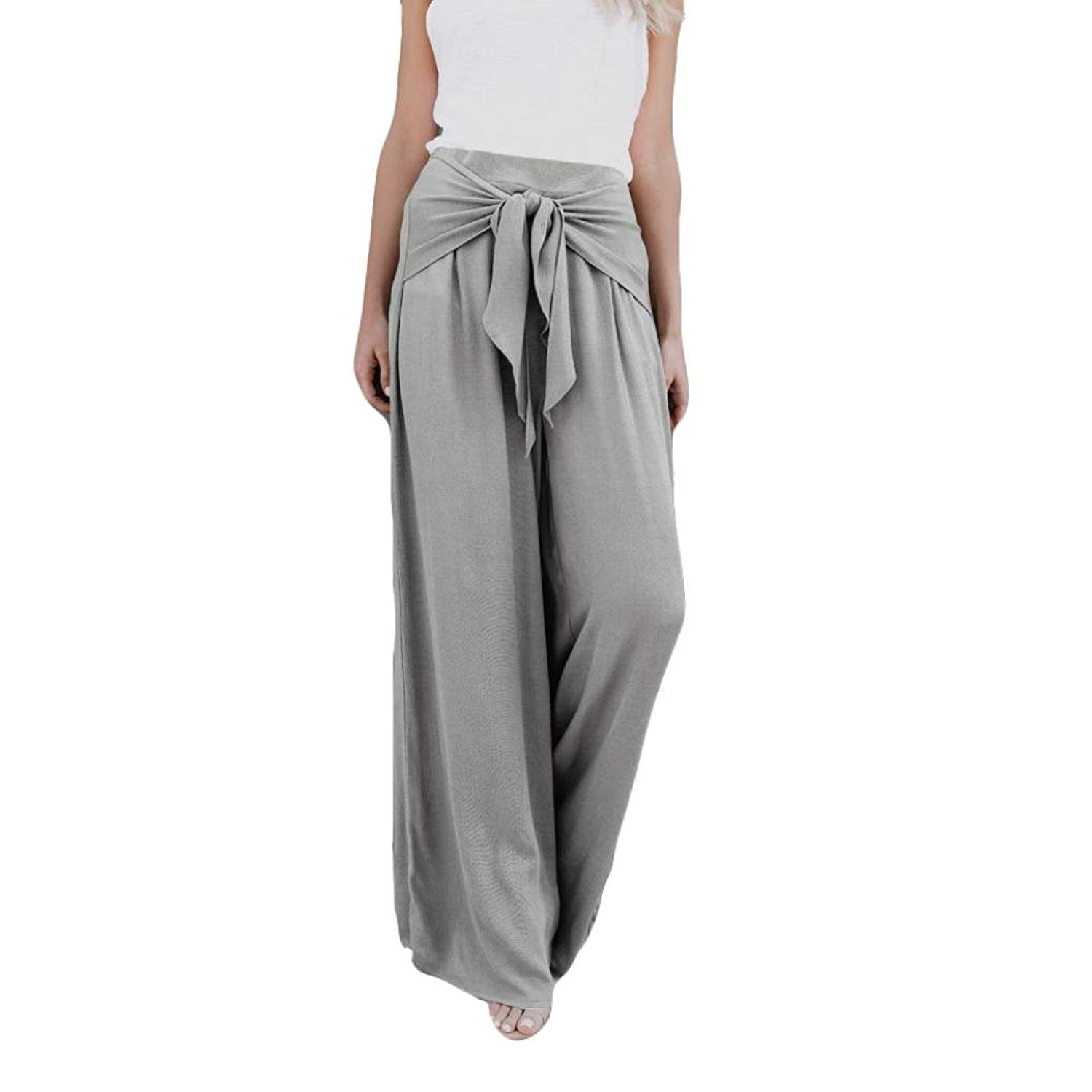 1cb2adcba Get Quotations · Women's Casual Loose High Waist Wide Leg Bell Bottom  Palazzo Flare Pants Leggings