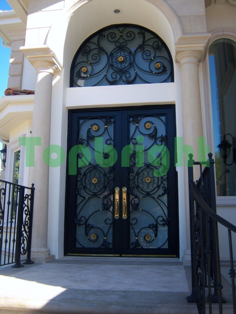 Exterior wrought iron doors steel main grill door design Main entrance door grill