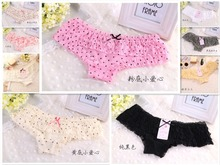 Mini order  $7) 2014 Hot sale Brand Sexy Dot calcinha female underwear women Lace Ruffles Women's Panties butt lifter Briefs